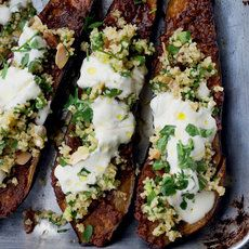 Chermoula Aubergine With Bulgur and Yogurt. Chermoula is a mixture of spices used in North African cooking. Here it's rubbed over aubergine, which is then roasted and topped with a Middle Eastern salad of bulgur wheat and herbs, like tabbouleh. Vegetarian Recipes, Cooking Recipes, Healthy Recipes, Yogurt Recipes, Uk Recipes, Comida Israeli, Vegetarian Thanksgiving, Thanksgiving Table, Thanksgiving Recipes