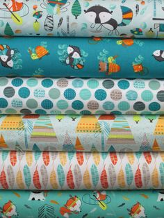 "Camelot Cottons, Let's Go, Turquoise 6 Total  Each 1/2 Yard Measures: 18""x 44/45""  You will receive a 1/2 yard of each of the following:  Off the Trail Light Turquoise Critters Blue Polka Dots White Teepees Light Turquoise Feathers White Foxes Turquoise…"