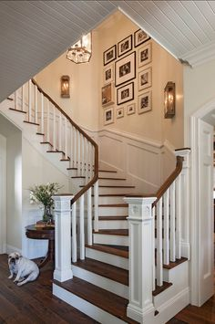 Staircase. Inspiring Photo Wall gallery. #Staircase #PhotoWall I like the stained post cap.....