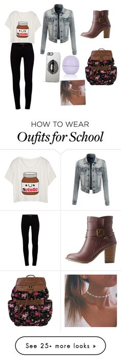 """""""Another school outfit """" by sinaisfashion on Polyvore featuring J Brand, LE3NO, Charlotte Russe, Lipsy and Topshop"""