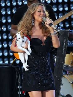 Mariah Carey with her pup, Jill E. Beans, at the 2012 NFL Kickoff concert.