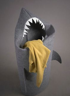 "The coolest hamper on the block... Kyle had a monster laundry hamper when he was little. I would love this! It helps our babies learn. ""Feed the shark!"""