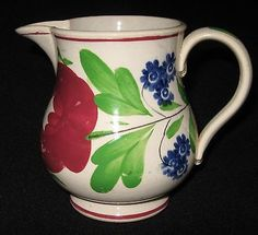 19TH-CENT-STAFFORDSHIRE-ADAMS-ROSE-type-PEARLWARE-STICK-SPATTER-CREAM-PITCHER