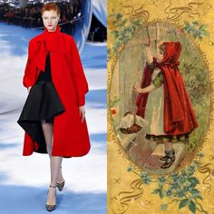 Dior channeling Little Red Riding Hood...you can do it to this fall, just visit http://socksnbirkenstocks.blogspot.com/2013/08/seeing-red.html
