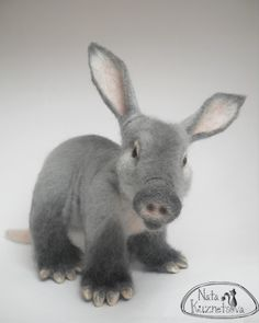Needle felted animal - Felted Baby Aardvark - Anteater - Funny and unusual…