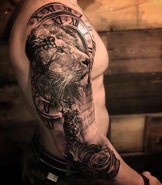 Top Tatuagens on Ins Lion Tattoo Sleeves, Mens Lion Tattoo, Arm Sleeve Tattoos, Forearm Tattoo Men, Tattoo Sleeve Designs, Tattoo Designs Men, Lion Tattoo Design, Lion Tattoos For Men, Lion Head Tattoos