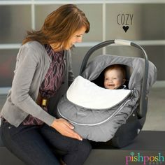 It's easy to keep baby warm and cozy with car seat covers by JJ Cole. Just pop on a cute hat and you're good to go! Zip flap grows with your baby. Machine washable (of course) - and just $29.99!   http://www.pishposhbaby.com/jj-cole-car-seat-covers.html
