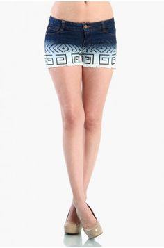 OMG Aztec Print Denim Shorts