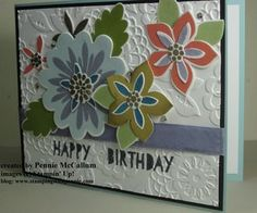 Flower Patch Birthday Card - really great floral stamp set by Stampin' Up! www.stampingwithpennie.com