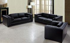 Divani Casa Dublin - Modern Tufted Leather Sofa Set