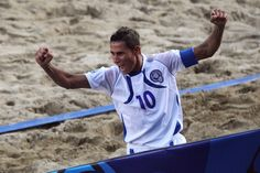 Agustin Ruiz of El Salvador celebrates scoring a goal during the FIFA Beach Soccer World Cup Quarter Final match between Italy and El Salvador at Stadium del Mare on September 8, 2011 in Ravenna, Ital