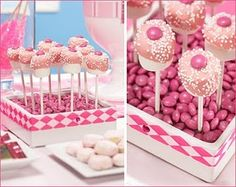 cake pop display idea. Box filled with pink candies (stryofoam under?)