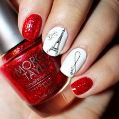 I love Paris nail art, how about you Fashionista? Nail polish ideas with Eiffel Paris theme for simple nail art works. Paris Nail Art, Paris Nails, Fancy Nails, Red Nails, Love Nails, Red Manicure, Fabulous Nails, Gorgeous Nails, Pretty Nails