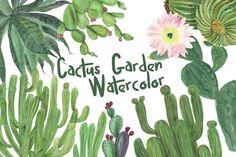 Watercolor cactus garden by ramika on @creativemarket