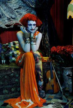 Sasha Pivovarova in 'Bohemian Way' by Emma Summerton for Vogue Italia, 2010;