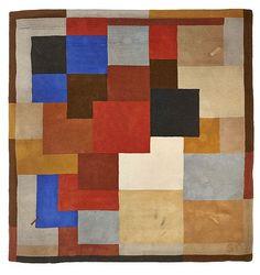 """<b>Sonia DELAUNAY</b> (1885 -1979) <br /> <b>Tapis """"Labyrinthe"""" - circa 1975</b> <br /> Laine tissée main, décor de cubes polychromes <br /> Edition Artcurial <br /> Etiquette de l'éditeur <br /> Signé et numéroté <br /> h: 213 w: 235 cm <br /> <br /> <br />"""