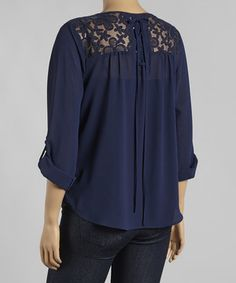 This Mine Too Navy Lace-Back Scoop Neck Top - Plus by Mine Too is perfect! #zulilyfinds