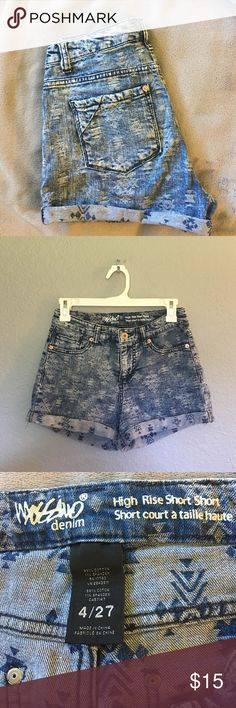 Mossimo Denim High Rise Short Shorts Very comfortable and stretchy. Aztec Patterned. Great for the summer! Mossimo Supply Co. Shorts Jean Shorts