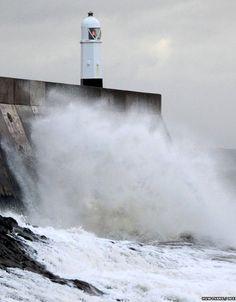Porthcawl lighthouse, Porthcawl, Bridgend, South Wales, UK - 31st March 2015