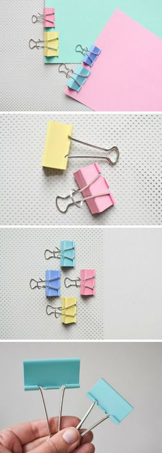"""Adorable clips for fans of cute stationery! Set of 4 Binder Clips in Candy Colors. We all know the classic binder clips but do we know them in candy colors?These are the cute approach for holding your documents or your planner together.They are available in 4 colors: pink / mint green / light blue / light yellowAlso they come in 2 sizes: 41 mm / 1.75"""" or 51 mm / 2"""" #ad #stationery #kawaii #pastel"""