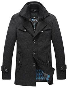 Match Mens Wool Winter Wool Fleece Coat Trench Coat #WB-013