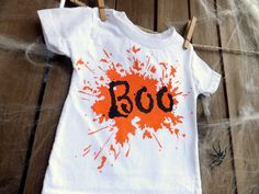 Orange and Black BOO Halloween Tee Black and Orange on by MoMoPics, $17.00