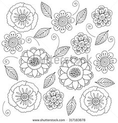 Wildflowers beautiful doodle art flowers. Black and white pattern. Hand drawn herbal design elements.