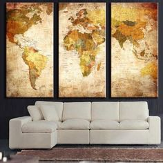 3 Panel Vintage World Map Canvas Painting Oil Painting Print On Canvas Home Decor Wall Art Wall Picture For Living Room Unframed-Dollar Bargains Online Shopping Australia World Map Painting, World Map Canvas, World Map Wall Art, Map Art, World Map Picture, Picture Wall, Picture Photo, Modern Oil Painting, Oil Painting On Canvas