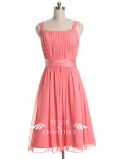 Pretty Bright Pink Tea-length Bridesmaid Dress with Knotted straps - http://www.tulleandchantilly.com