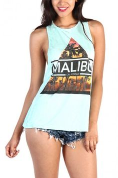 Malibu Back Cut Out Tank Top - Mint