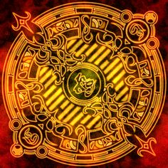 This is Syaoran Li's magic circle from Tsubasa Reservoir Chronicles. Spell Circle, Magic Symbols, Syaoran, Final Fantasy X, Magic Circle, Fantasy World, Sacred Geometry, Occult, Pixel Art