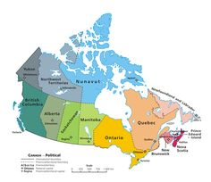 A clickable map of Canada exhibiting its ten provinces and three territories, and their capitals.