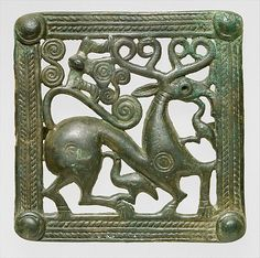 Belt clasp,: ca. A.D. 1st–2nd century. Transcaucasia. The Metropolitan Museum of Art, New York. Rogers Fund, 1921 (21.166.5) | This square example features a highly stylized stag, with exaggerated haunches marked by incised concentric circles. The animal is attacked both from below and in the face by birds.
