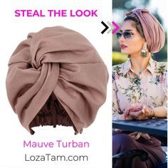 Mauve Pink Satin-Lined Turban Turban Outfit, Hijab Turban Style, Mode Turban, Turban Fashion, Hair Wrap Scarf, Hair Scarf Styles, Turban Headband Tutorial, Turban Headbands, Scarf Knots