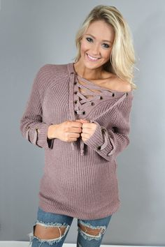 Purple Lace Up Sweater – The Pulse Boutique