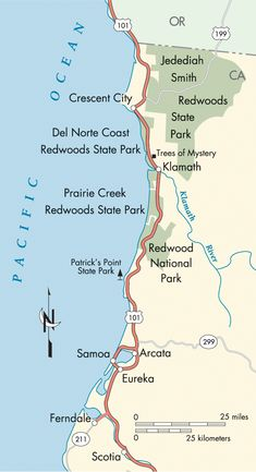 Best of the Redwood Coast Map Northern california travel