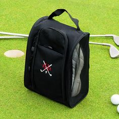 Form meets function with our Custom Golf Shoe Bag. Great for all gift giving occasions, this personalized golf tote makes an ideal putting time companion. on and off the green. Constructed of durabl Gifts For Golfers, Golf Gifts, Dad Gifts, Black Golf Shoes, Golf Shoe Bag, Cheap Golf Clubs, Golf Gps Watch, Perfect Golf, Top 5