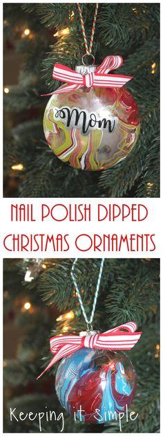 Nail Polish Dipped Christmas Ornaments - Keeping it Simple Crafts