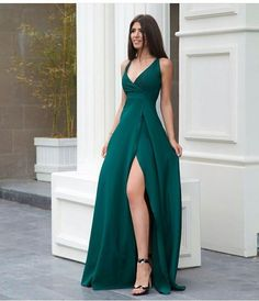A line green prom dress with side slit Long prom dress long prom dress satin prom dress 4244 Elegant Dresses, Pretty Dresses, Beautiful Dresses, Dresses For Work, Awesome Dresses, Simple Dresses, Work Skirts, V Neck Prom Dresses, Gala Dresses