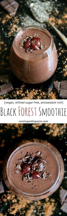 Black Forest Smoothie -- naturally sweet and loaded with antioxidants. You'd never believe this decadently chocolatey smoothie is super healthy! | runningwithspoons.com #vegan #recipe #chocolate