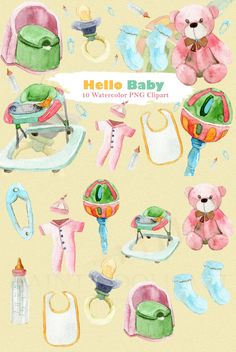 Baby Clipart Watercolor for your stationary design needs!  Baby, newborn, watercolor clipart, teddy bear, toys, potty chair, baby girl, baby boy, pregnancy, nursery