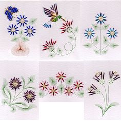 Value Pack No. 24: Bead Flowers 2 at Stitching Cards - ePatterns for paper embroidery