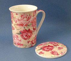 New Kent Pottery Homeessentials Ceramic Pink Roses Rose Mug & Coaster Set