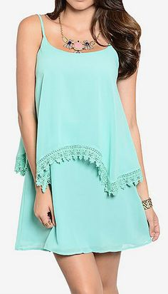 Shop the Trends Mint Layered Shift Dress