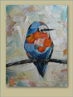Original Oil Painting Lovely Bird Modern Contemporary by mgotovac, $70.00