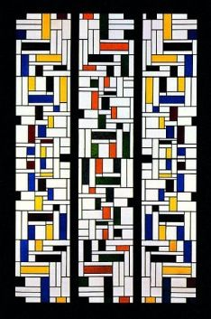 Theo van Doesburg Stained-Glass Composition IV, stained-glass window in three parts for the hall, designs for the interior and exterior of the De Lange House, Alkmaar 1918 Kröller-Müller Museum, Otterlo Piet Mondrian, Bauhaus, Jean Arp, Hans Richter, Theo Van Doesburg, Francis Picabia, Modern Stained Glass, Art Deco, Dutch Artists