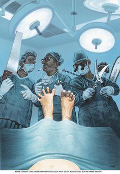 """Haderer-Karikatur vom 23. Jänner 2016: """"Böser Verdacht: Sind unsere Krankenhäuser doch nicht so gut ausgestattet, wie wir immer dachten?""""Mehr Karikaturen auf: http://www.nachrichten.at/nachrichten/fotogalerien/cme14862,1412321 (Bild: Haderer)"""