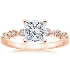 14K Rose Gold Tiara Diamond Ring, top view