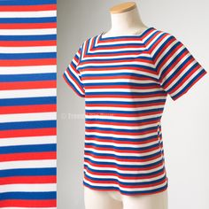 Mod top vintage 60s Top Red white blue Nautical top 60s knit top womens tops - L