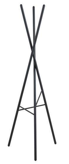 Artikelmerkmale: Garderobenständer, Material: Metall, matt schwarz lackiert, Farbe: schwarz, Maße ca